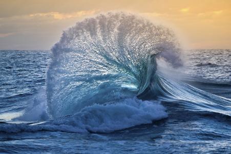 海,天空,波,升天,威廉·帕蒂诺