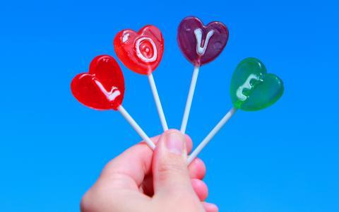 棒棒糖,信件,题字,爱,手,爱,天空