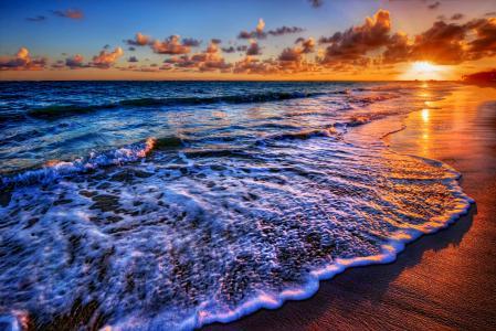 海,日落,天空,岸,海滩,云