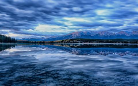 加拿大,湖,蓝色,山,雪,水,天空