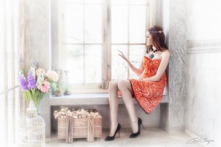 女孩,房间,光,裙子,看,出,窗口,鲜花