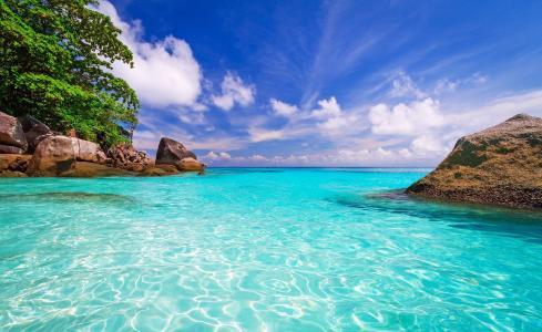 塞舌尔,岛,海洋,沙滩,自然,美丽,天空,云,热带地区