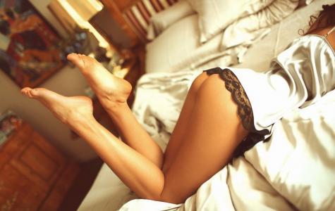 屁股,床,脚,臀部,腿,内衣,内裤,女性