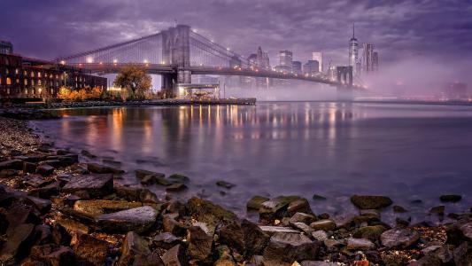 城市,夜,桥,灯,雾,河,房子,纽约,海湾,美国,曼哈顿,码头
