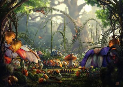 童话故事,鲜花,城市,露水,昆虫,森林