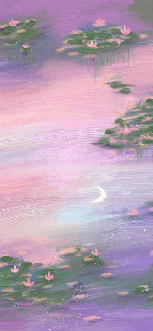 荷塘月色唯美手绘