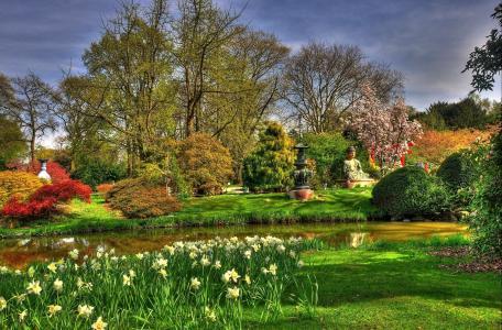 德国,汉堡,日本庭园,自然,公园,池塘,雕塑,植物,花卉