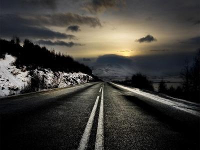 路,阴沉,远处,山路