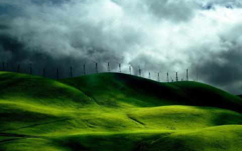 丘陵,涡轮,风,草,绿色