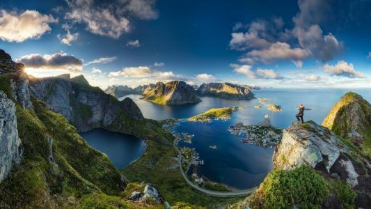 挪威,山,峡湾,镇,美丽