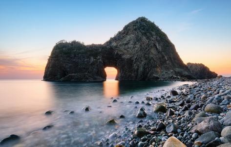 海洋,岩石,拱,海岸,日落,天空,卵石,美女