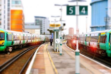 火车,平台,火车站,伦敦