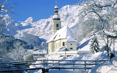 新的一年,雪,冬天,教堂,桥梁