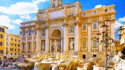 意大利,罗马,宫殿,特雷维喷泉
