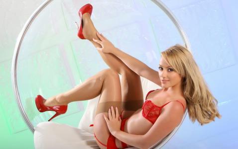 Alana追逐,女孩,模型,金发,红色内衣,椅子
