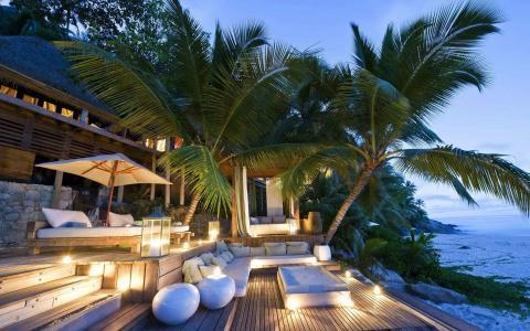 酒店,度假村,棕榈树,沙滩,热带,家和舒适
