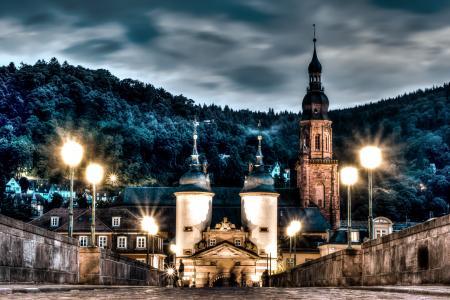 城市,海德堡,海德堡,海德堡,德国,城堡,塔,森林,晚上,灯光,照明