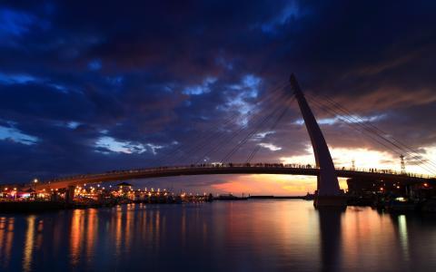 船,河,灯,人,市,桥,新的台北市,夜间
