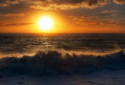 海洋,波浪,地平线,太阳