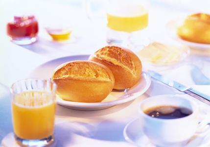 早上,果汁,桌子,咖啡,卷