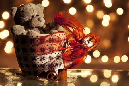 毛绒,假期,色带,泰迪熊