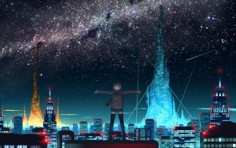 女孩,屋顶,城市,夜,天空,动漫,灯