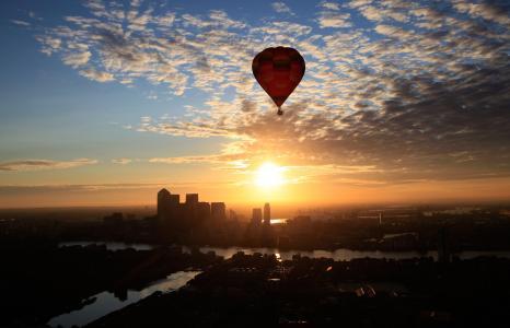 城市,气球,美丽