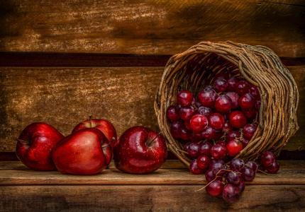 食物,水果,篮子,苹果,葡萄