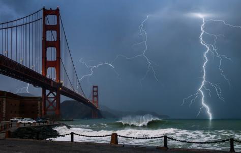 闪电,桥梁,阴天,放电