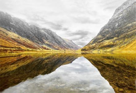 山,苏格兰,湖,美丽,秋天,天空,阴云密布