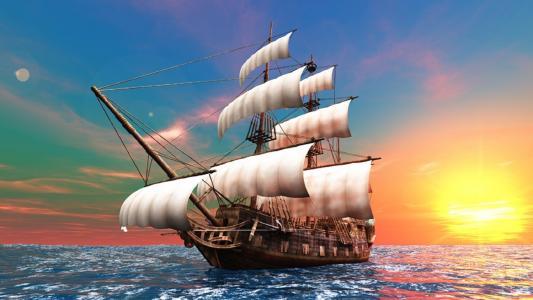 帆船,海,天空,黎明