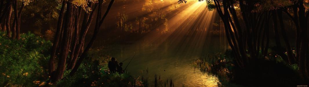 自然,河,渔民