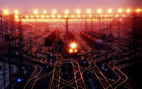 铁路,车站,路,内燃机车,电力线,箭头,信号