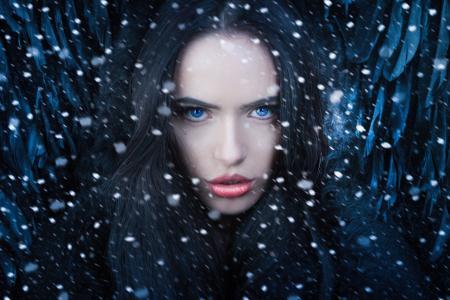 女孩,肖像,摄影师,Joachim Bergauer,图像,天使,冬天,雪,看看
