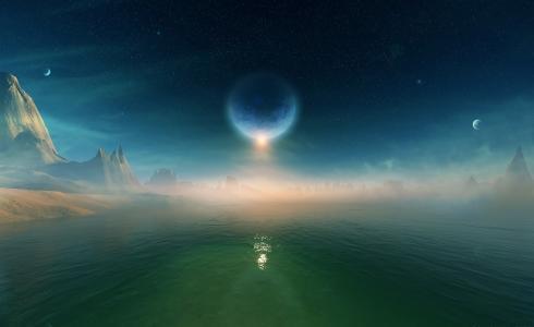 行星,空间,星星,水