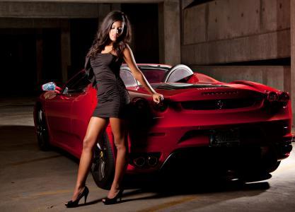 女孩,黑妞,跑车,法拉利,红色,礼服,建设