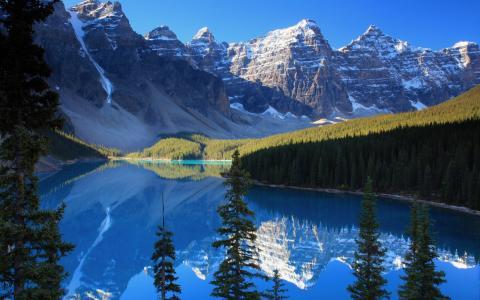 自然,山,森林,树,天空,雪,峰,湖,云杉,天空,反射,4k