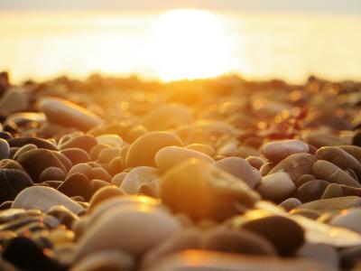 海,日落,太阳,明亮,光线,光,石头,海滩,宏,美丽