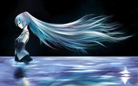 动漫,初音未来,女孩,绿松石的头发,水,在晚上