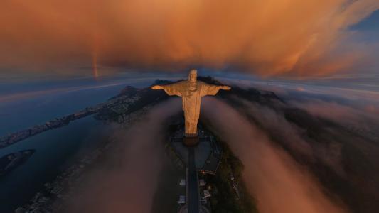 里约热内卢,里约热内卢,城市,基督救世主雕像,克里斯托Redentor,彩虹,云,日出