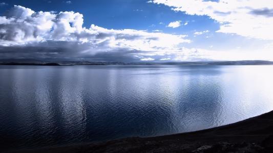 湾,大海,泻湖,天空,云,空间
