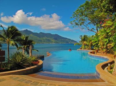 塞舌尔,岛,性质,山,房子,游泳池,天空,森林,棕榈树,树木
