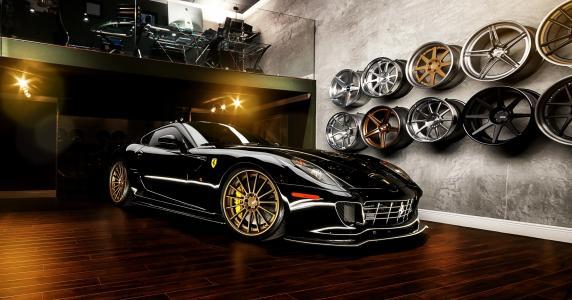 法拉利,黑色,跑车,光盘,超级跑车,百,调教