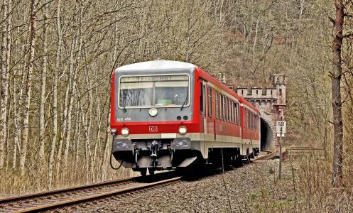 火车,隧道,树木,交通