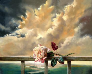 绘画,花,玫瑰,新鲜,云,天空,房子,小屋