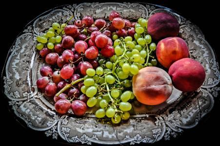 菜,葡萄,桃子,水果