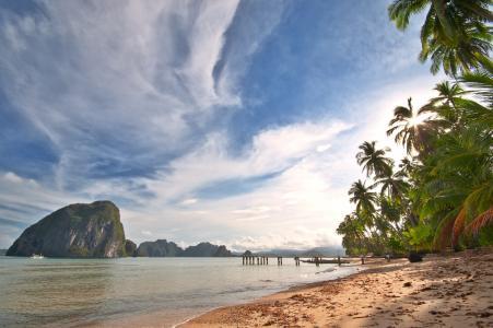 自然,热带地区,山,海洋,天堂,美女,棕榈树,海滩