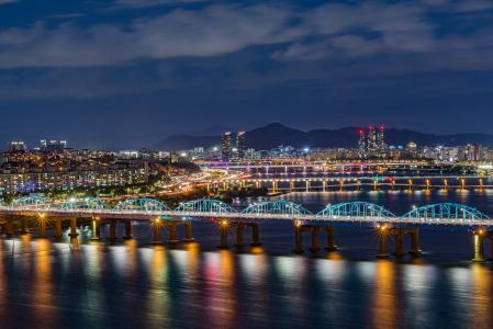 城市,首尔,韩国,夜晚,河流,桥梁,灯光