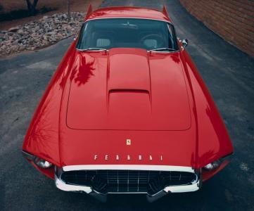 法拉利,老,红色经典,引擎盖,权力