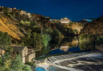 托莱多,西班牙,房屋,河,瀑布,晚上